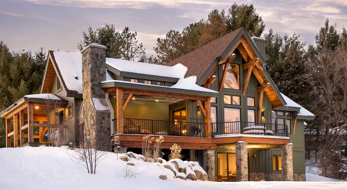 """Our """"Marshal"""" home design covered in snow"""