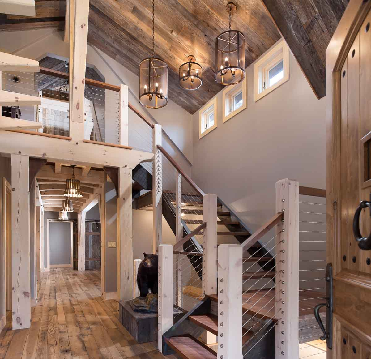 An open concept timber framed staircase