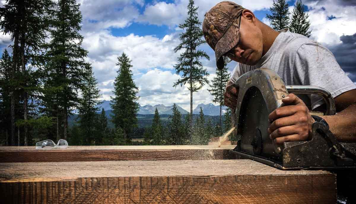 Timber framer using a large circular saw