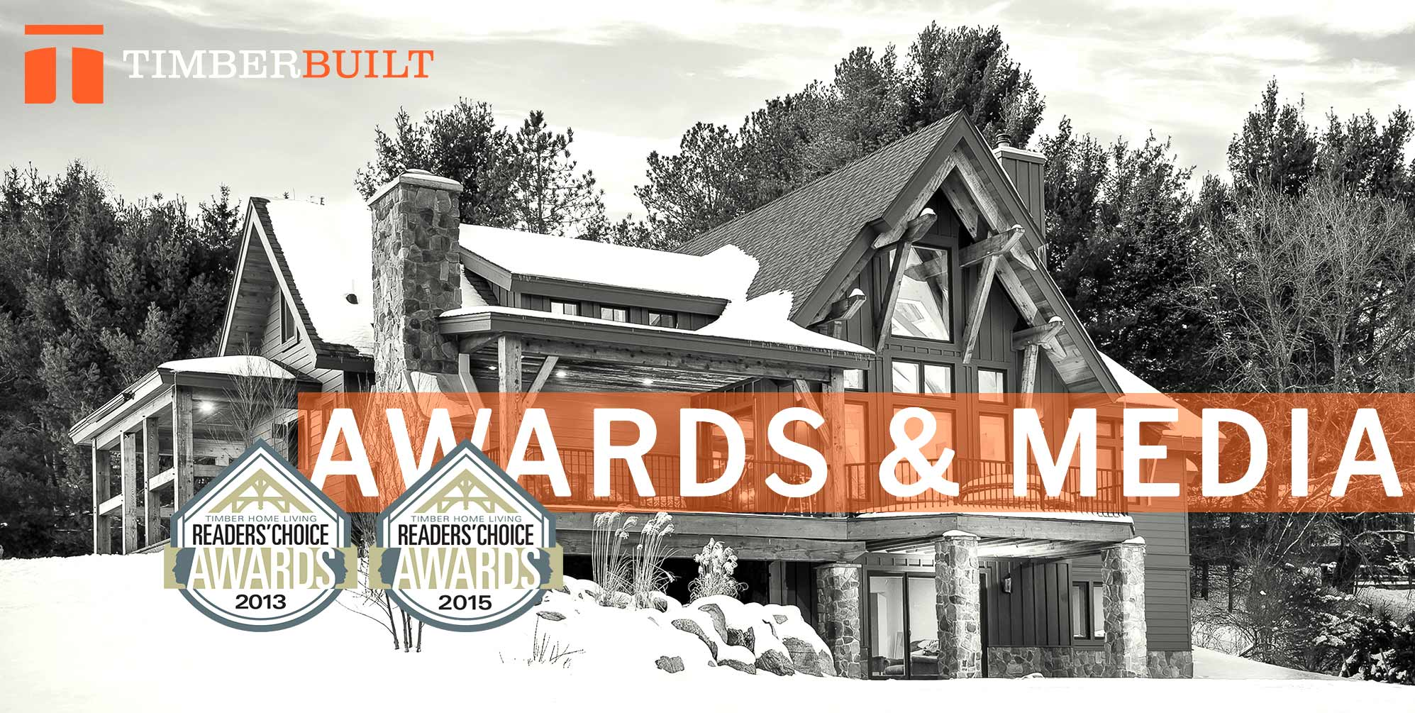 Timber frame home with award badges superimposed over it.