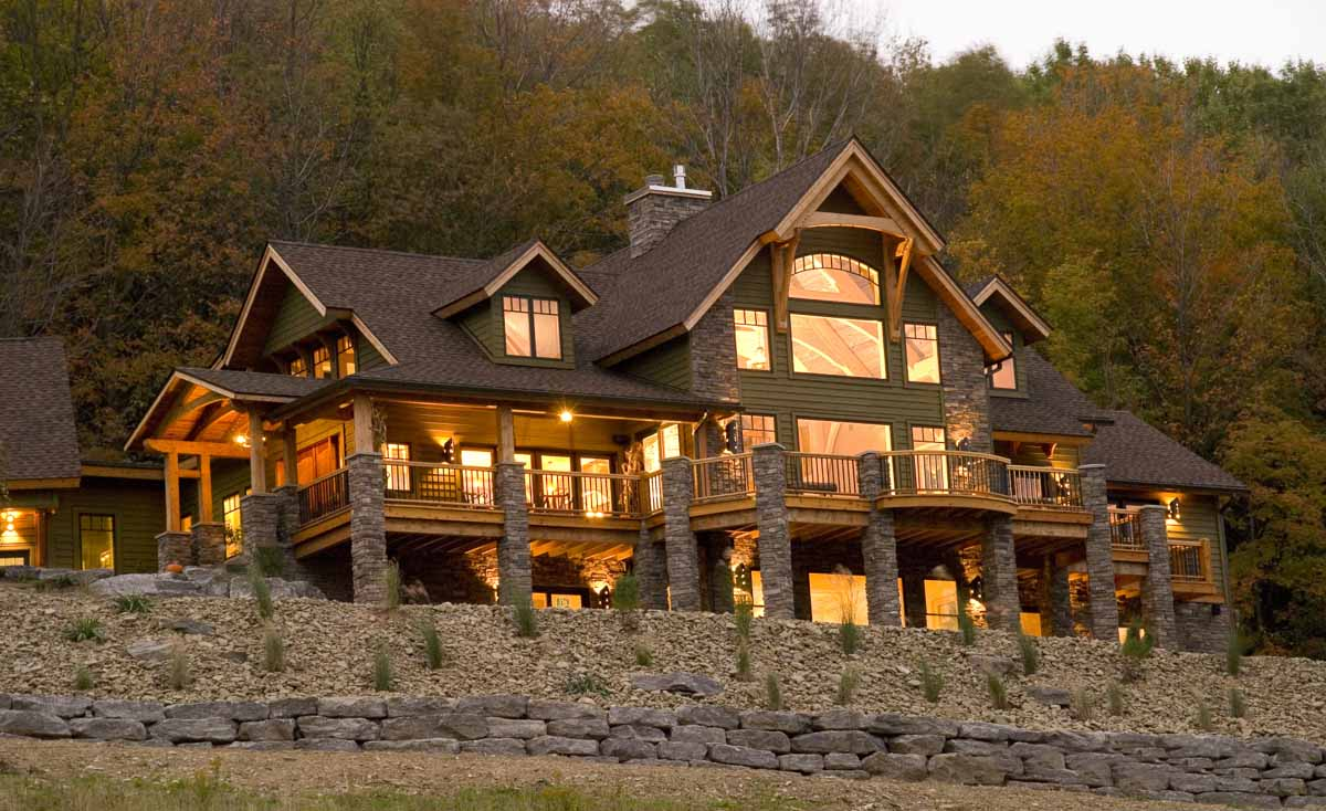 Timber frame home designs timberbuilt the olive for Timber frame home plans designs