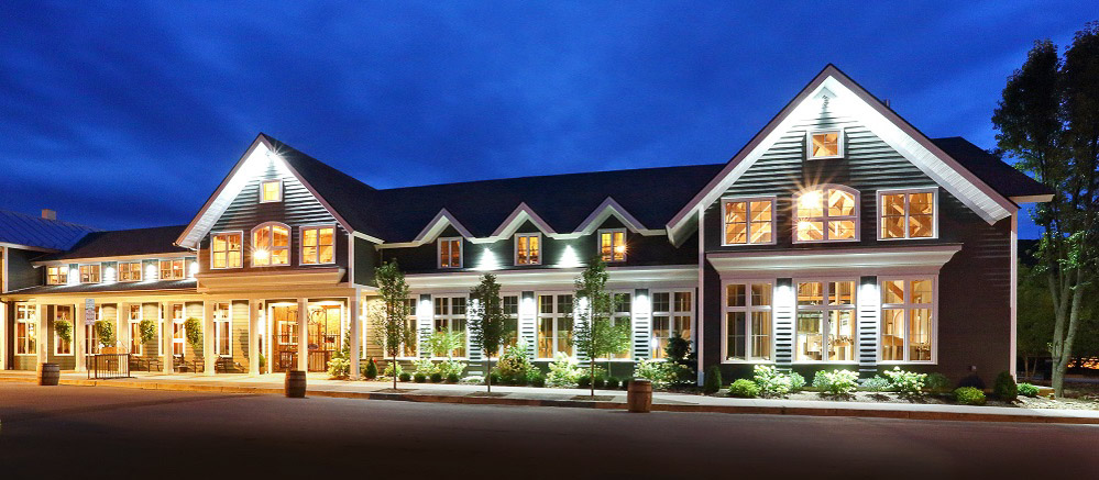 Timber framed brewery in Ellicottville NY as seen at night with dramatic lighting