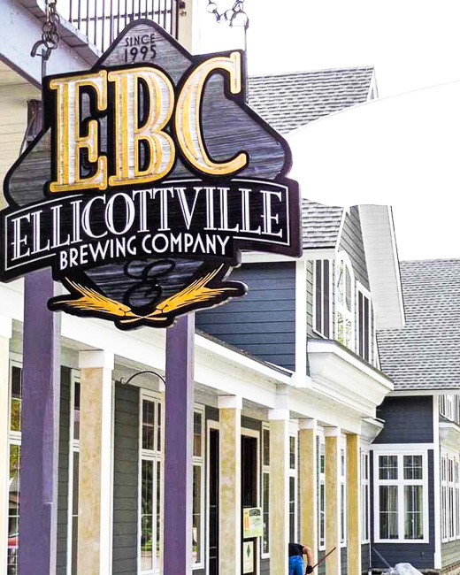 Sign outside of Ellicottville Brewing Company