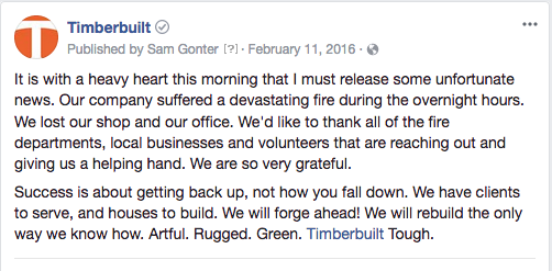 Timberbuilt's Facebook announcement that their facilities were destroyed in a fire.