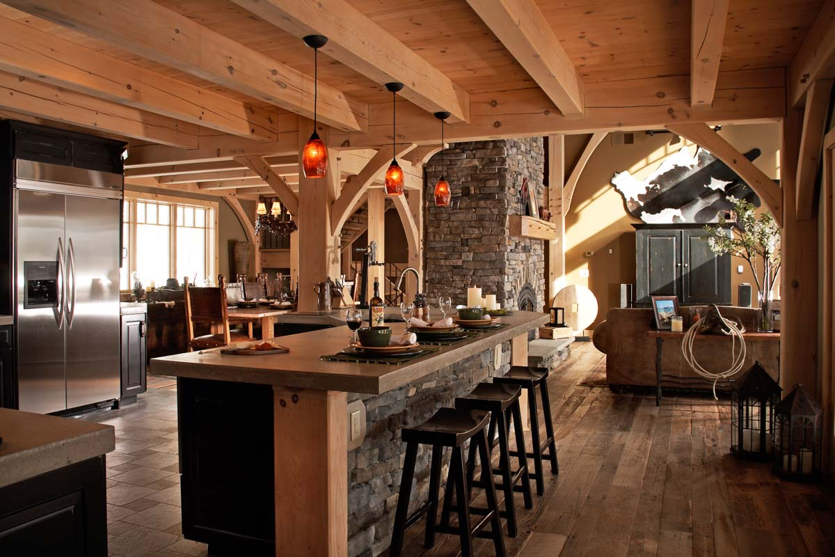 The olive timber frame home designs timberbuilt for Timber frame homes pictures